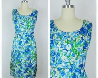 Vintage 1960s Dress / 60s Blue Watercolor Floral Silk Wiggle Dress / Small to Medium
