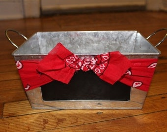 10% OFF SUMMER SALE Bandana Galvanized Bucket w/ chalkboard