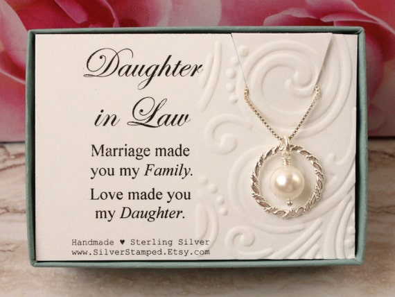 Wedding Gift For Daughter In Law : Daughter in Law Gift from Mother in Law Sterling silver necklace ...