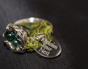 Silver Nest ring with Teal Green Stones