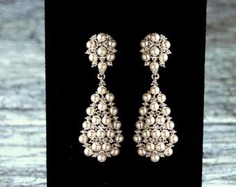 Pearl Chandelier Bridal Earrings, Pearl Bridal Earrings, Vintage Style Pearl Earrings, Pearl Wedding Earrings, ELENA