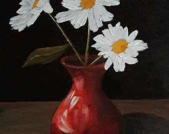Daisies Still Life Painting, Flower Floral Daisy Still Life Painting, 10x12 Inches Canvas