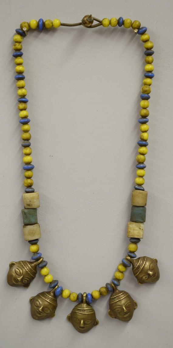 Naga Necklace Brass Head 5 Pendants India Handmade Yellow Blue Beads Trophy Naga Brass Head Necklace Unique