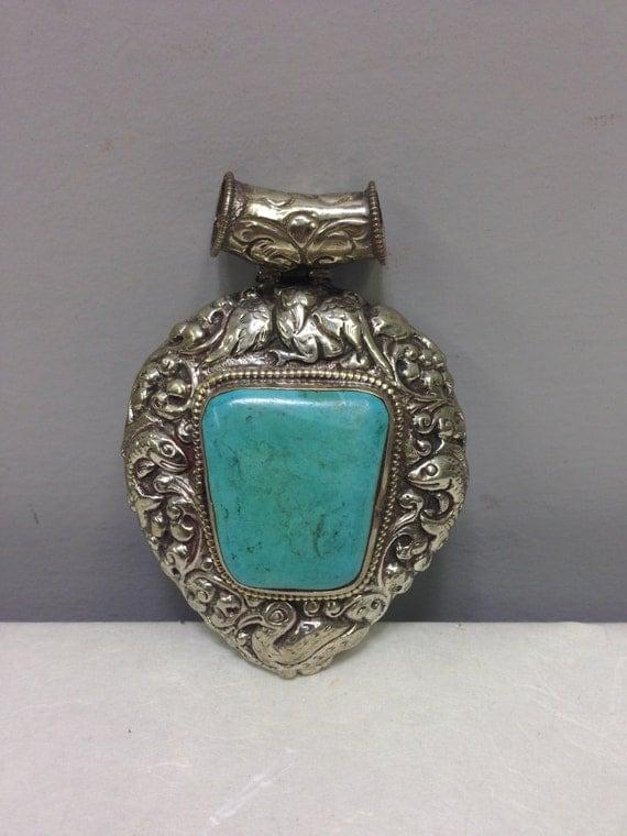 Pendant  Silver Turquoise Silver Pendant Handmade Tibet Pendant Turquoise Necklace Jewelry  Unique  Statement