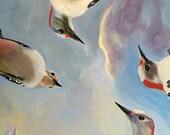 "Woodpeckers meeting, giclee print 10"" x 10"""