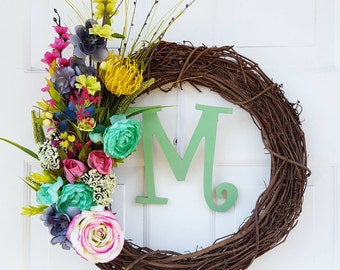 Spring Wreath for Door - Farmhouse Wreath - Housewarming Gift - Front Door Wreath - Spring Wreath - Monogram Wreath - Summer Wreath