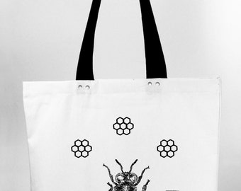 Honeybee - hand screen printed cotton canvas tote bag