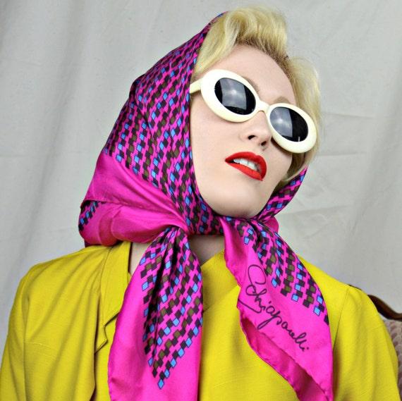 Vintage 1960's Elsa Schiaparelli Shocking Pink Scarf
