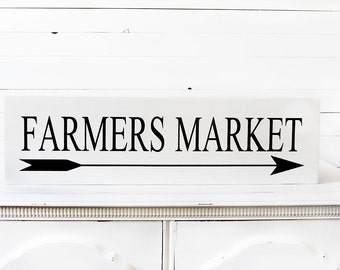 Farmers Market Sign -  Farmhouse Decor - White Farmhouse Decor - Rustic Decor - Modern Farmhouse Decor - Farmhouse Sign-  Fixer Upper Decor