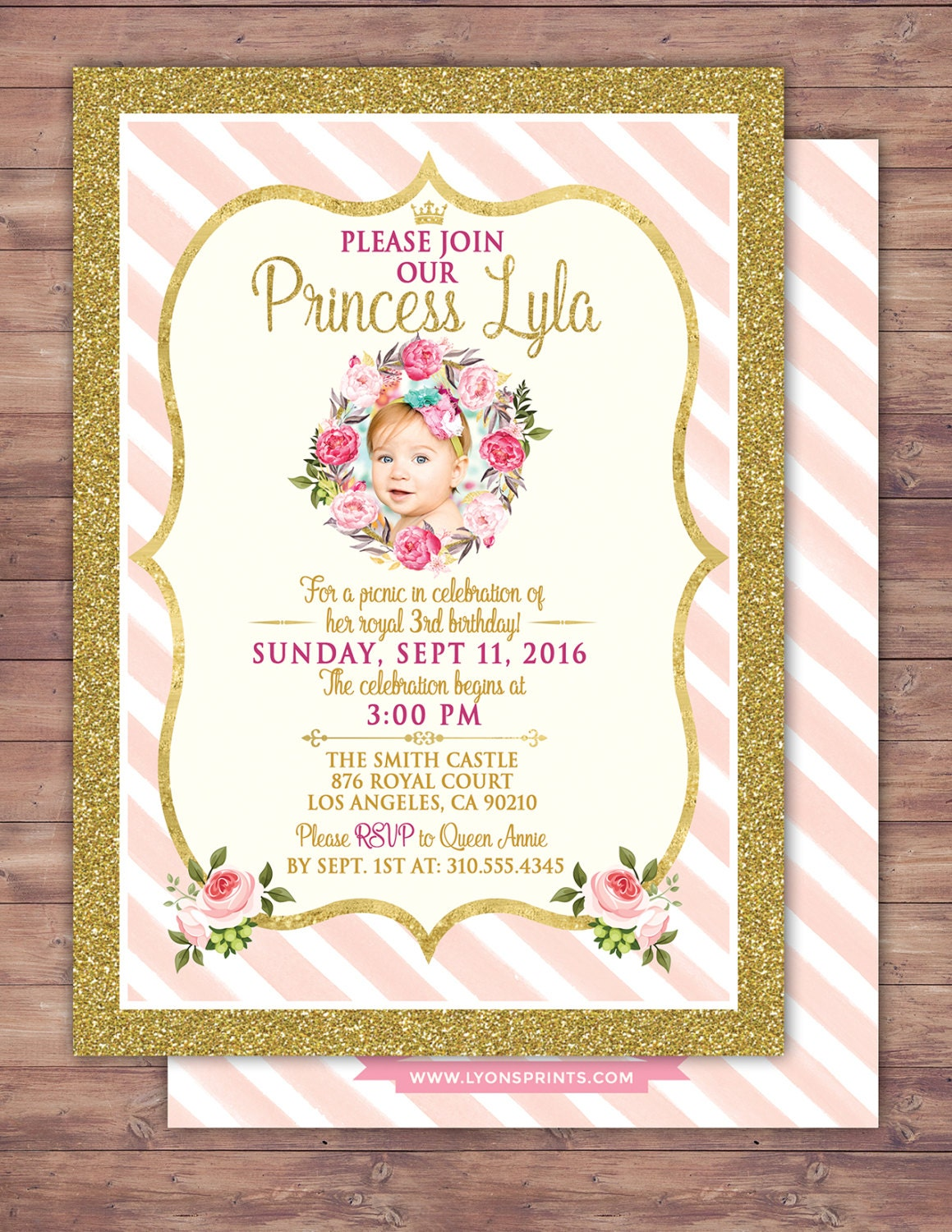 ANY AGE Princess Invitations Princess Birthday Party – 1st Birthday Princess Invitation