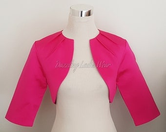 Pink Satin Bolero Fully Lined - UK 4-26/US 1-22 Shrug/Cropped Jacket/Wrap/Shawl - Pleated neck