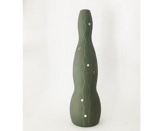 Mid Century Modern Vintage tall organic shaped Jaru style vase