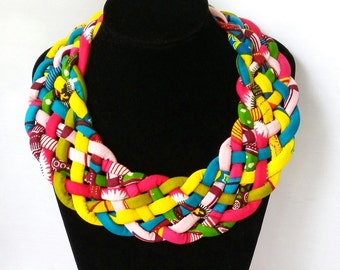 Woven African Print Necklace, Multi strand Ankara neckpiece, African fabric jewellery, Multicolour Ethnic necklace, Birthday Gift,  Summer