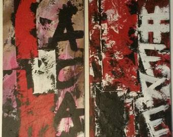 Title: street art diptych BFA on canvas 2 x 30/80 cm