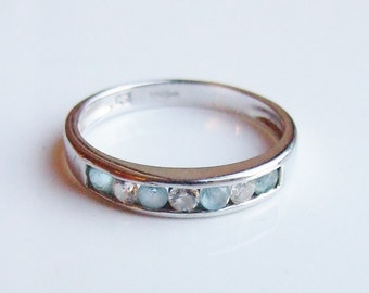 Vintage 9ct 9k White Gold Blue Topaz & Cubic Zirconia Half Eternity Ring Size 5 3/4 - L