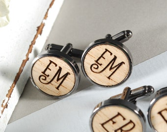 INITIALS - ready to give, gift box, solid Obeche wood, engraved cufflinks, perfect Christmas gift, for him, Father's day gift