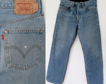 Levis 501 jeans, blue stonewash denim, straight leg pants trousers, mens, distressed denim, waist 31, leg 32