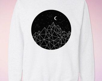 Mountains Moon Stars Sweatshirt, Sweat Shirt, Crewneck, Crew Neck, Jumper, Sweater.