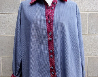 Vintage red and blue patchwork check oversized shirt