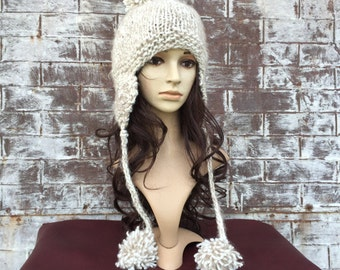WOOL TRAPPER HAT, Womens Wool Bomber Hat, Choose Your Color Hat, Winter White Hat, White Wool Hat,