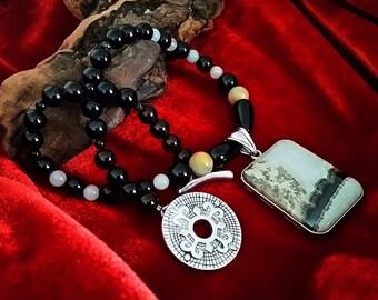Jasper Pendant Choker Necklace, natural southwestern landscape jasper stone pendant with Amazonite black agate, sundance handmade boutique