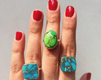 Handcrafted Turquoise Copper Silver Ring / Green Turquoise Ring / Turquoise Gemstone Ring / Copper Turquoise Ring
