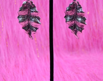Large Silver Leaf Earrings