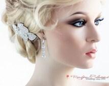 925 CZ Sterling Silver Bridal Earrings, Cubic Zirconia Crystal Hook Earrings, Crystal Silver Dangle Gift Bridesmaid Earrings, Ruby Blooms