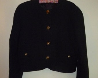 1980's vintage navy wool blazer with gold knot buttons
