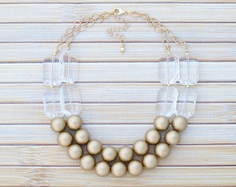 Gold Statement Jewelry Necklace - Chunky Gold Necklace - Gold Bib Necklace - Gold Layered Necklace - Clear Crystal Faceted Bead Necklace