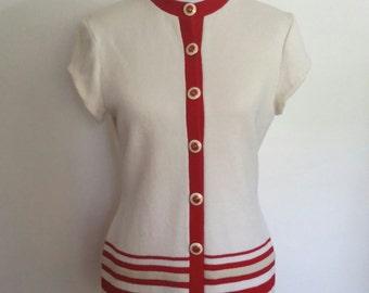 Nautical sweater, S, M, St. John sweater, designer sweater, striped sweater, nautical cardigan, St. John cardigan, white cardigan