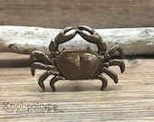 Crab Knob in Antique Brass, Red or custom - Hermit King Crab Dungeness Pinchers Shell Drawer Pull - Beach Theme - Nautical Nursery decor