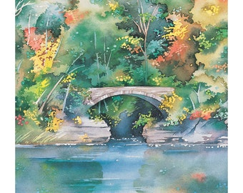 """Cornell University, Beebe Lake, Graduation Gift, Watercolor Giclee Print of  Ithaca NY, Gift For Her, Painting 12"""" x 18"""" by Cheryl Chalmers"""