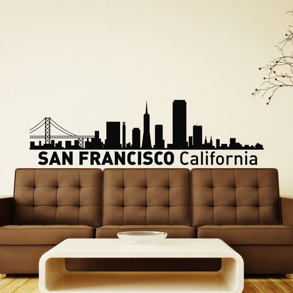 San francisco california skyline city silhouette wall vinyl - Home decor san francisco image ...