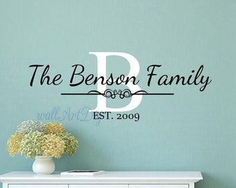 Family Wall Decal Etsy - Family monogram wall decals