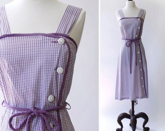 vintage 1940s dress <> 1940s cotton sundress <> 1940s purple and white day dress <> 40s side button cotton dress
