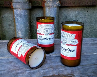 Recycled Budweiser Bottles, Beer Decor Soy Candles - Set of Three