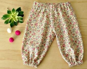 Baby girls harem pants. Girls vintage floral pants. Vintage rose print harem pants. Toddler girls vintage print pants. Rose print harems.
