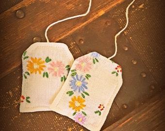 Pretend Tea Bags, Set of 2, Vintage Linens, Upcycled, Tea for 2, Play Tea Party, Pretend Tea Party, Gift Ideas for Girls, Pretend Play, OOAK