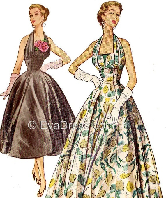 1950s Sewing Patterns | Swing and Wiggle Dresses, Skirts 1954 Evening Halter Dress Pattern by EvaDress Size 32 to 38 bust1954 Evening Halter Dress Pattern by EvaDress Size 32 to 38 bust $20.00 AT vintagedancer.com