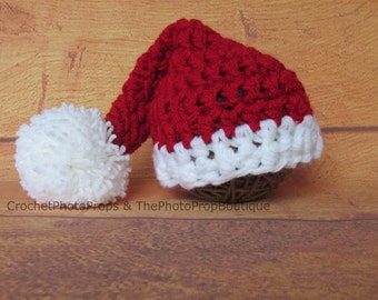 Santa Hat-Newborn, 3-6 mo, 6-12 mo, 12-24 months Chunky red crochet long hat with white band and big pom pom.  Free Shipping