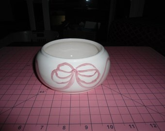 Ceramic Planter, Vintage, Catch All, Nursery Decor, Gift for Her, Bonsai Planter, Low Bowl, Ribbons and Bows, Ring Dish, Cottage Chic, Gift