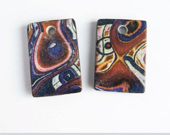 Abstract art beads, 2 Organic pattern beads, Earring charms, Brown blue white Artisan beads, Rectangle beads, Tile beads, Rustic flat beads