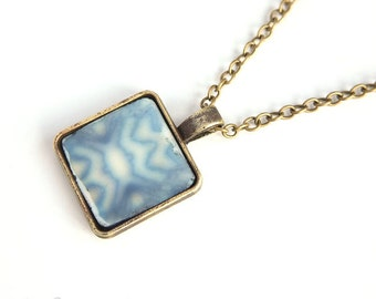 Rustic pendant, Pattern pendant, Ancient tile, Square pendant, Abstract tile bezel, Polymer clay pendant, Artisan pendant, Blue tile pendant