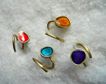 Adjustable Ring, Stacking rings, Gold plated Bronze, Blue Resin/Pebble Ring/ modern ring /Valentine gift