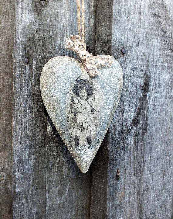 Wooden heart decor rustic ornament hanging