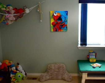 "Elmo, Nursery, Sesame Street, ""Lalalala Lalalala"" Pop Art by Cole Brenner, Kids Gift, Kids Room decor, featured, artist, Colorado, Toddler"