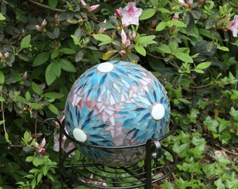 Mosaic Gazing Ball, Garden Ball, Garden Art, Gazing Ball, Garden Focal Point, Upcycled Garden Art,