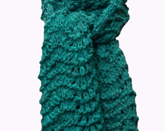 Hand Knit Scarf - Teal Green Wool Feather & Fan Lace
