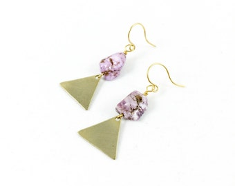 Triangle Earrings, Gold Triangle Earrings, Geometric Earrings, Bohemian Jewelry, Gypsy Jewelry, Howlite Jewelry, Earrings for Women
